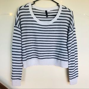 striped crop top sweater